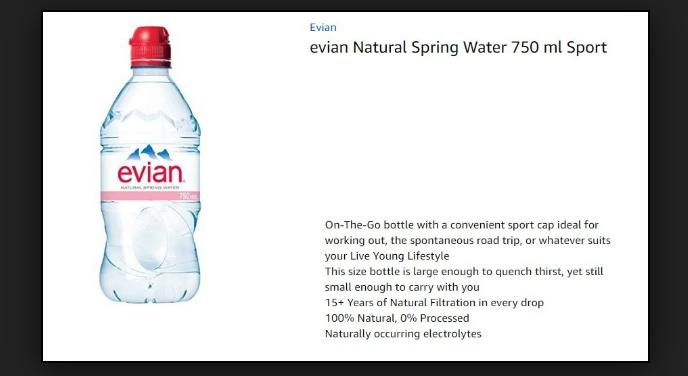 d9e944bf1c Evian Natural Spring Water (750 ml ) Naturally Filtered Spring Water in  Large Bottle: Buy Online at Best Prices in Pakistan   Daraz.pk
