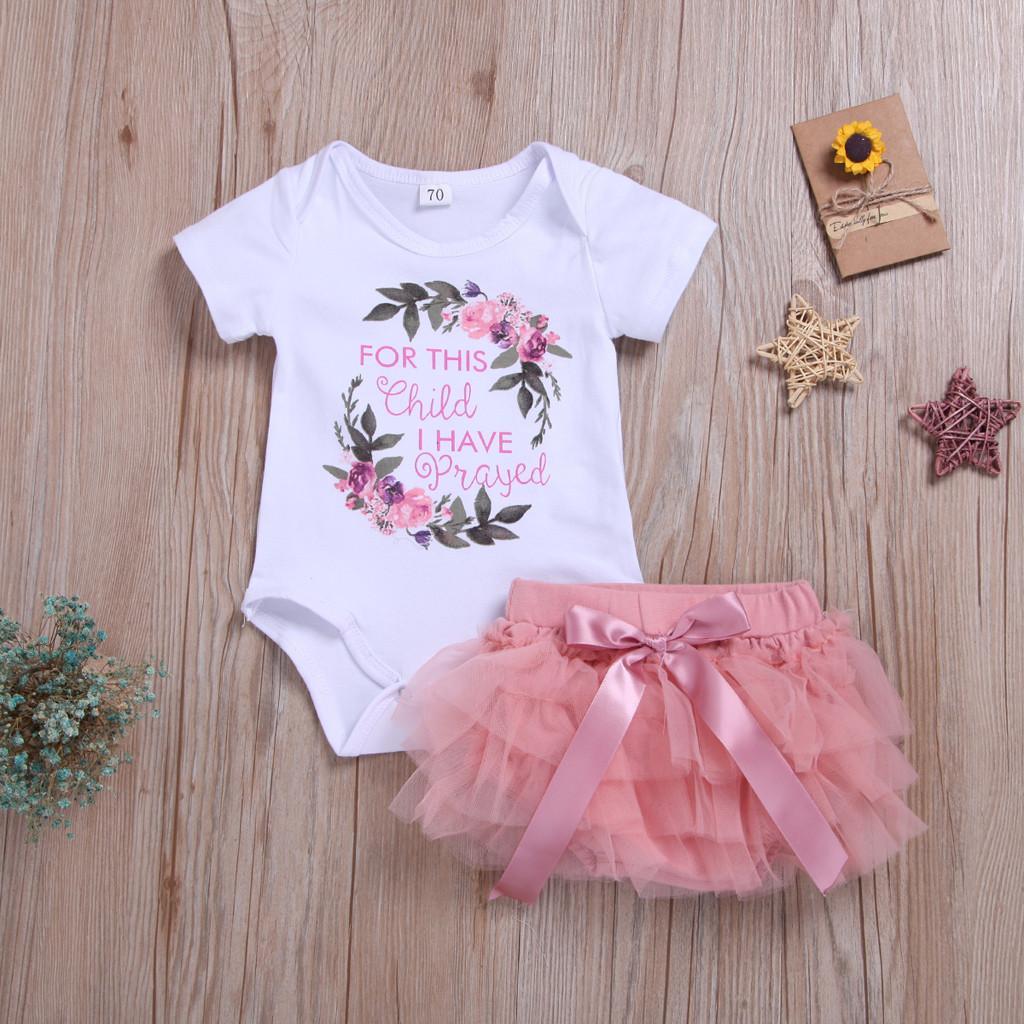 e58b9e0f5727f 2019 Kids Baby Girl Outfits Clothes Floral Letter Romper Bodysuit+Tutu  Dress Sets