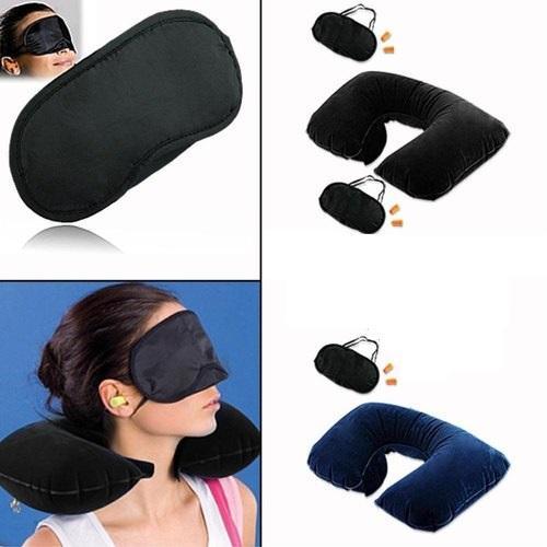 Three Tourist Treasure Travel Kit Air Neck Pillow Cushion Car Eye Mask Sleep Rest Shade Ear Plug 2 Set Black Blue Buy Online At Best Prices In Pakistan Daraz Pk