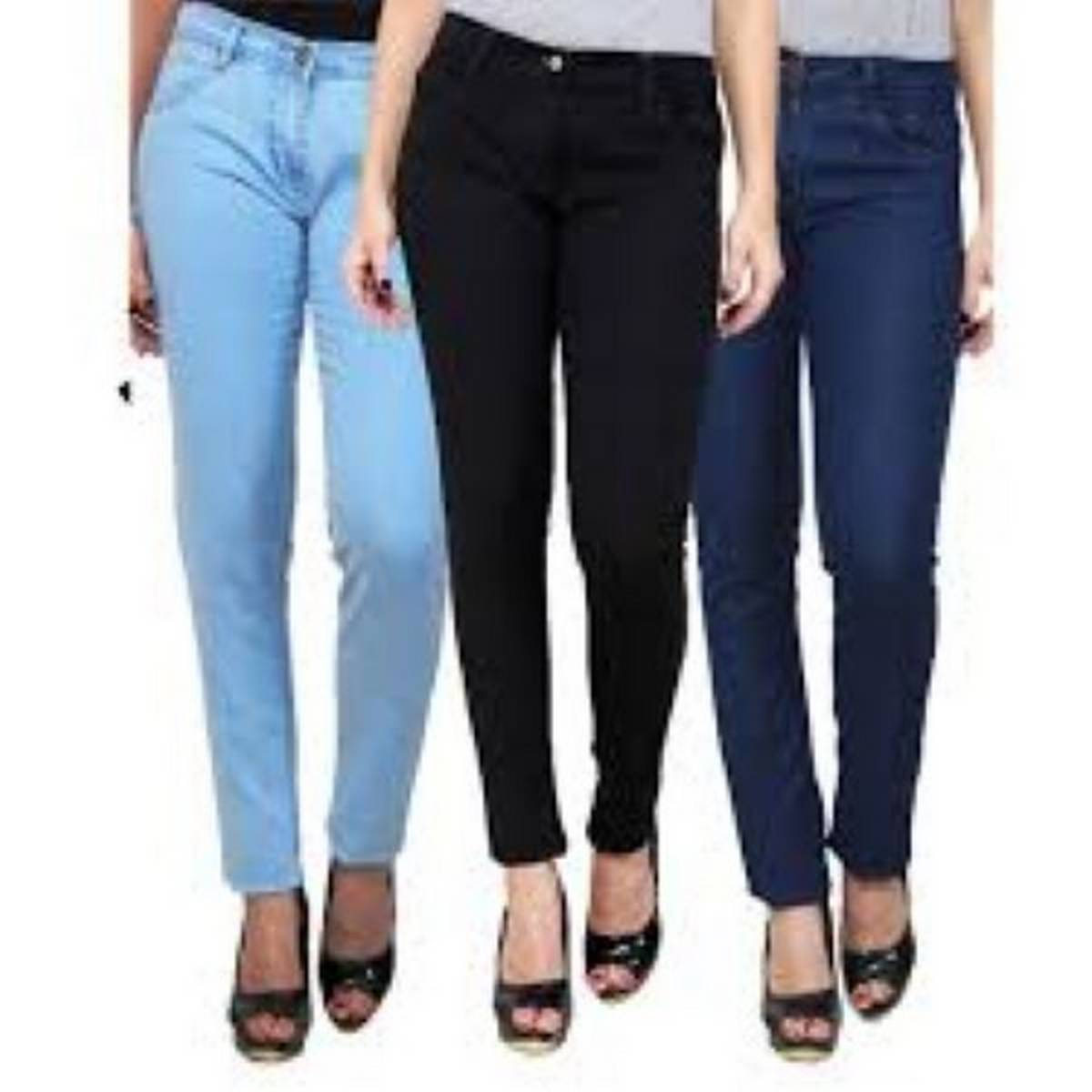 pack of 3 attractive slim fit denim plain jeans for girls.