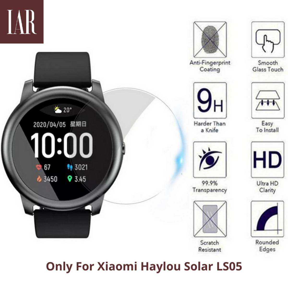Pack Of Two, Full Screen Protector, Tempered Glass For Haylou Solar LS05 Watch 36mm By IAR Collections