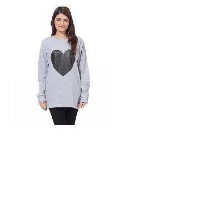 Heather Grey Cotton Heart T-Shirt For Women