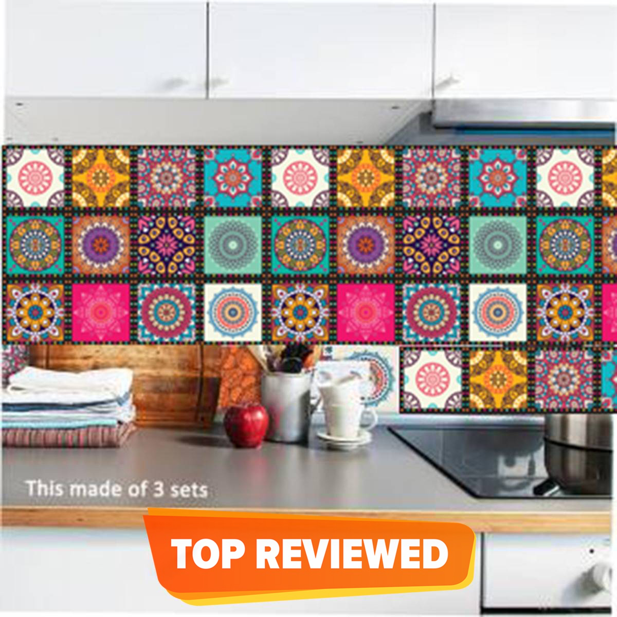 Wall Attraction Tile Stickers Pack of 12 Pieces for Home Décor Self Adhesive Peel Off Easy Clean Beautiful Wall Size 4 by 4 Inches