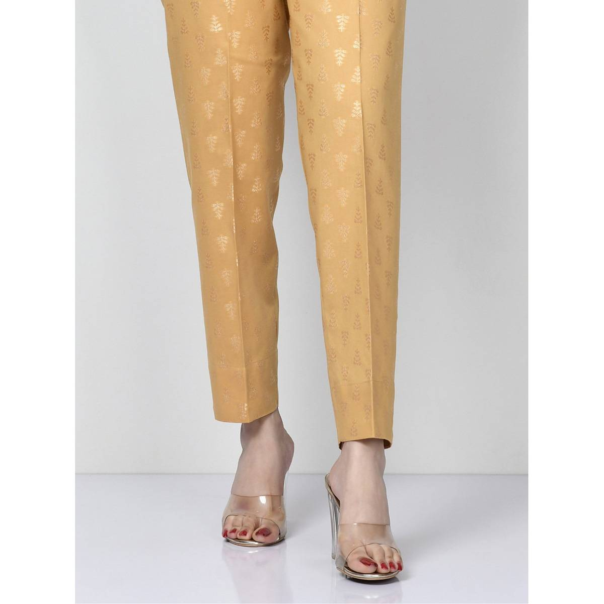 LimeLight Stitched Beige Jacquard Bootcut Pants   For Women P3654-MDN-BGE