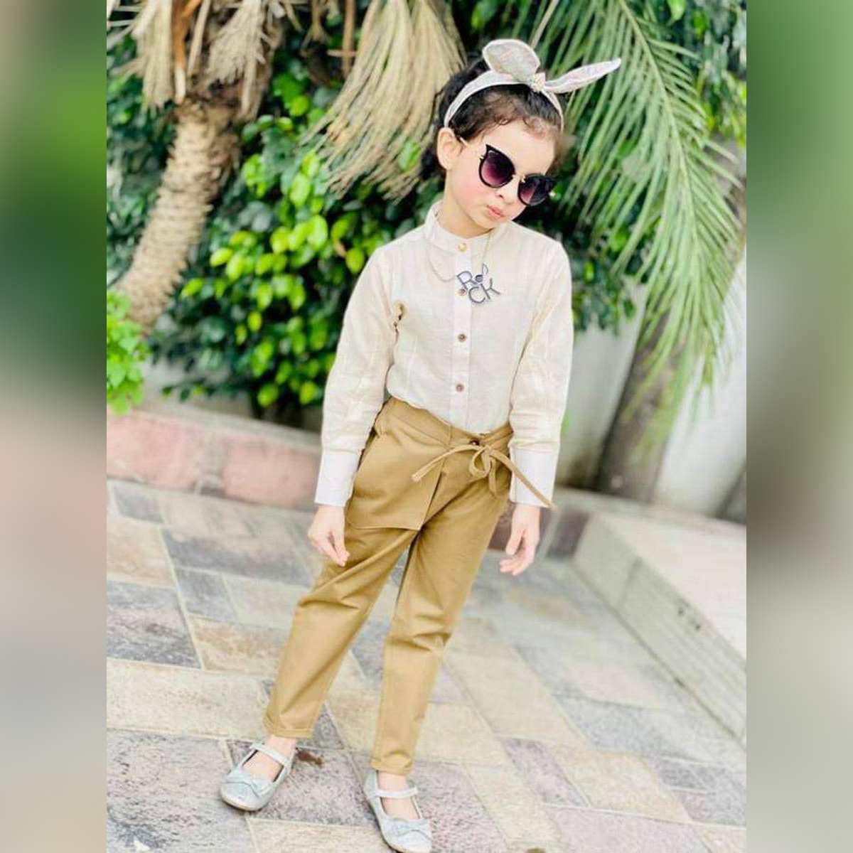 Kidzania 3-Piece Shirt + Pant for Girl - with Inner Camisole -   Button style shirt, dress for Girls - Cotton stuff - Maasori shirt - Spring Summer Collection