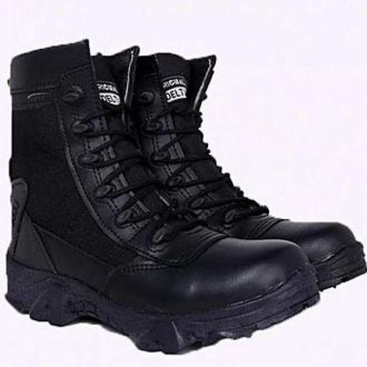 Delta Black Leather Trekking & Army Delta Boots Shoes For Men