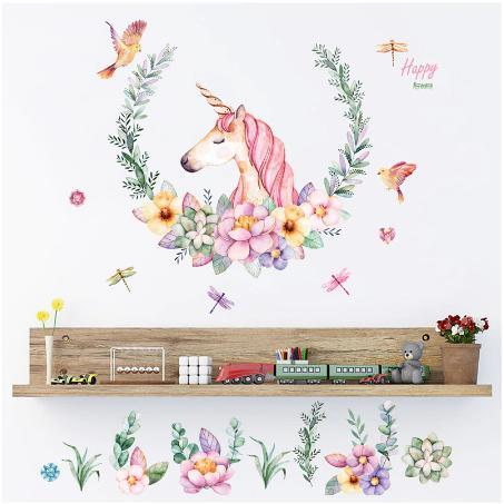 Beautiful flowers Pink Unicorn Cartoon Wall Sticker Cute pony Birds dragonfly Kids room Princess Room Girl