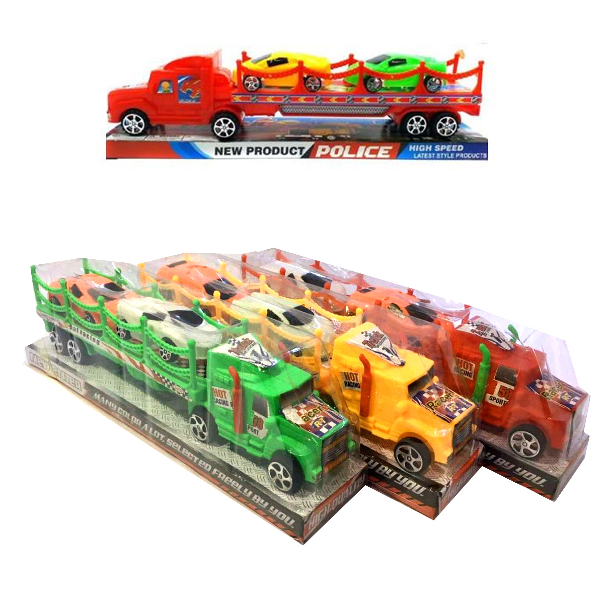 Racer Truck Toys Set For Kids, Boys, - Car Transporter Truck With 2 Car