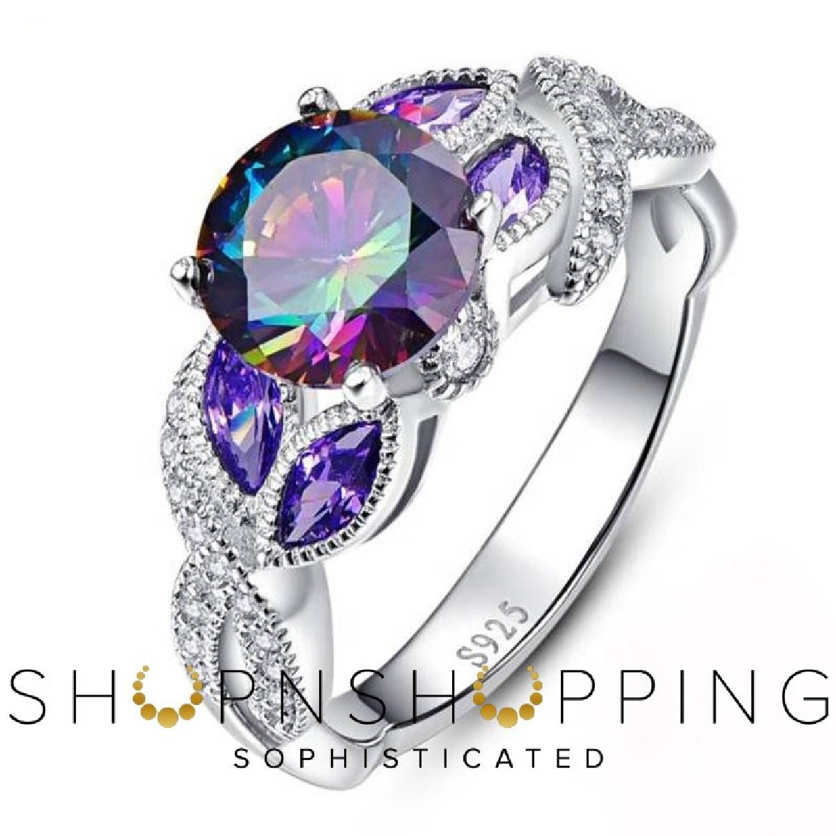 Imported High Quality Engagement Silver Plated Colorful Water Drops Full Rhinestone Zircon Rings for Girls & Women - HS-CS-B2388