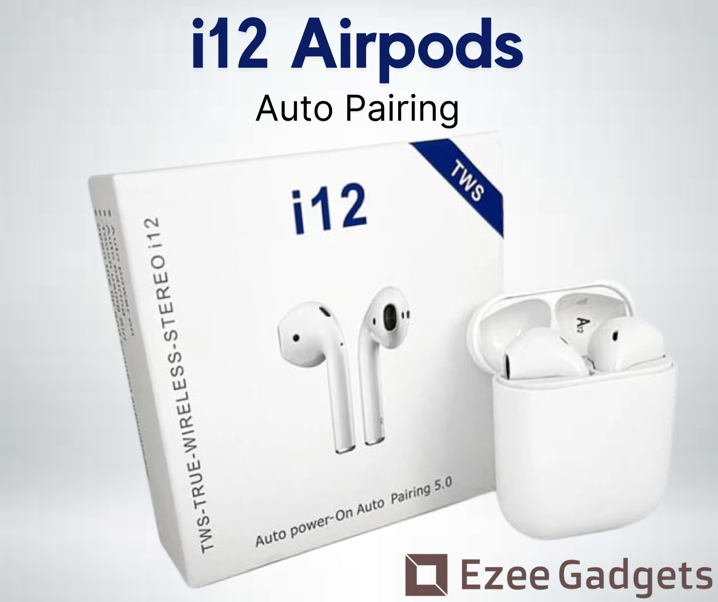 [ Exclusives ] i12 TWS Wireless Twins Bluetooth V5.0 Ear pods with SENSOR TOUCH. i12 Earbud Headset Sport Stereo Built Mic and High Bass Level Supporting Earphone With Charging Dock For all android and ios devices - white