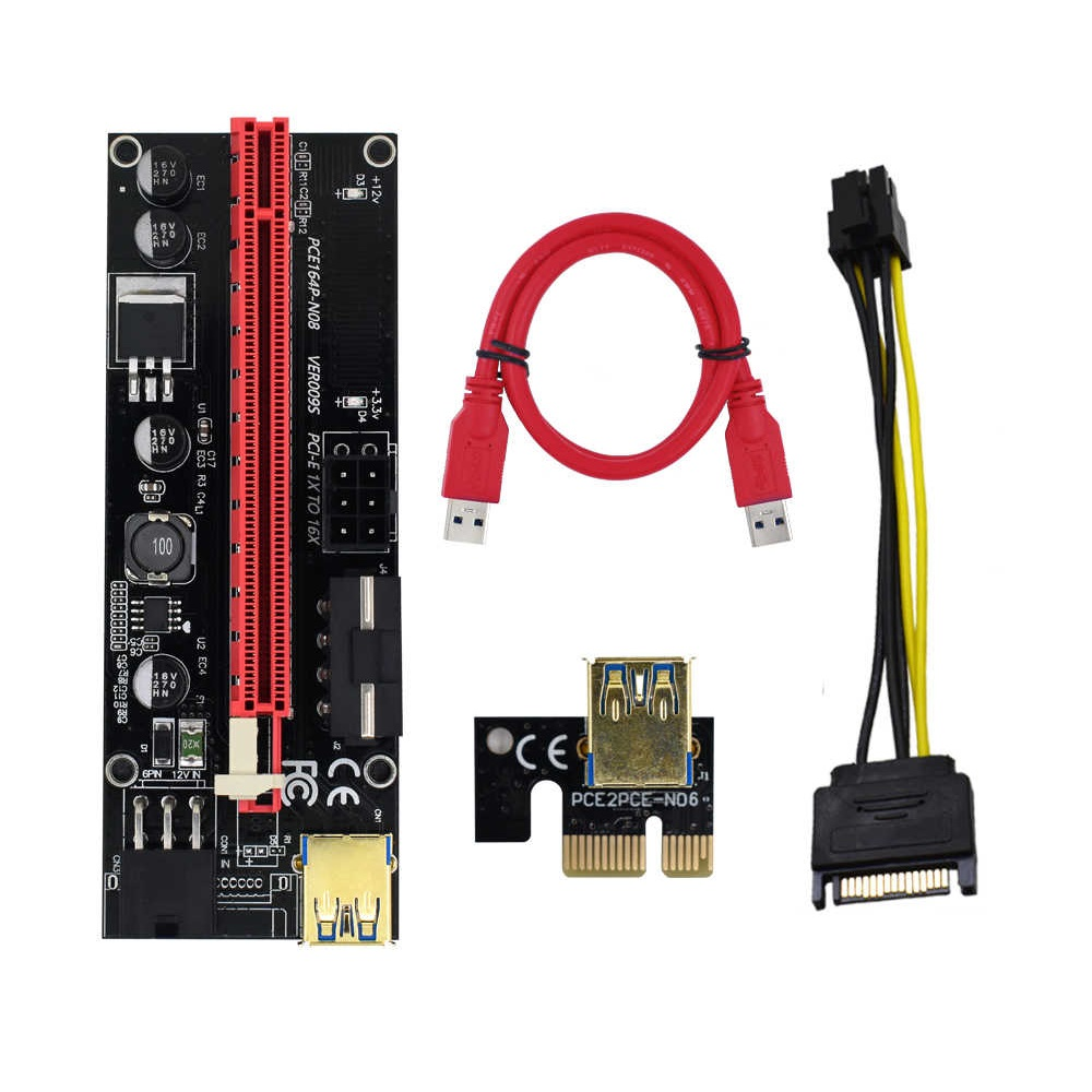 Newest Ver009s Usb 3.0 Pci-E Riser Ver 009S Express 1X 4X 8X 16X Extender Riser Adapter Card Sata 15Pin to 6 Pin Power Cable PCI E Riser Card