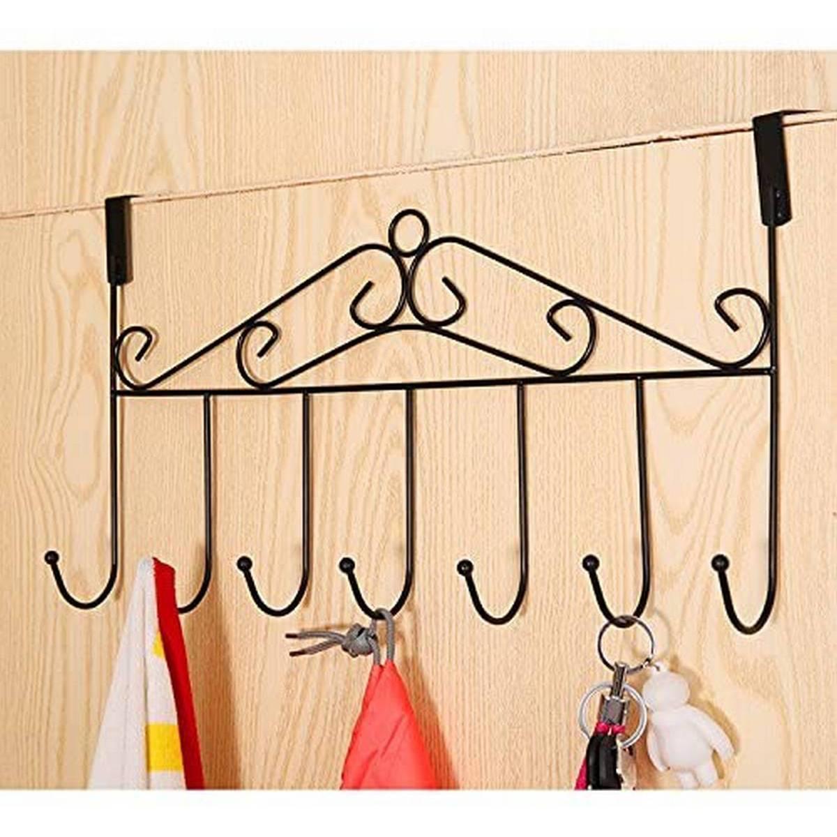 Over Door Hanger with 7 Hooks Metal Over the Door Towel Hook Organizer, Hanging Storage Rack for Coat, Robe, Jacket, Belt, Hat, Towel Home Office Kitchen Use