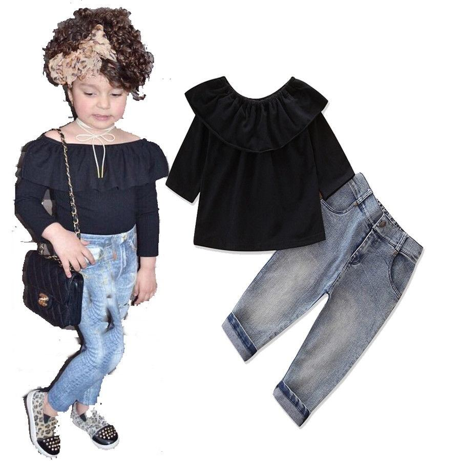 e297462c3c Stylish Toddler Kids Baby Girls Long Sleeve T-shirt Tops + Denim Jeans  Pants Clothes