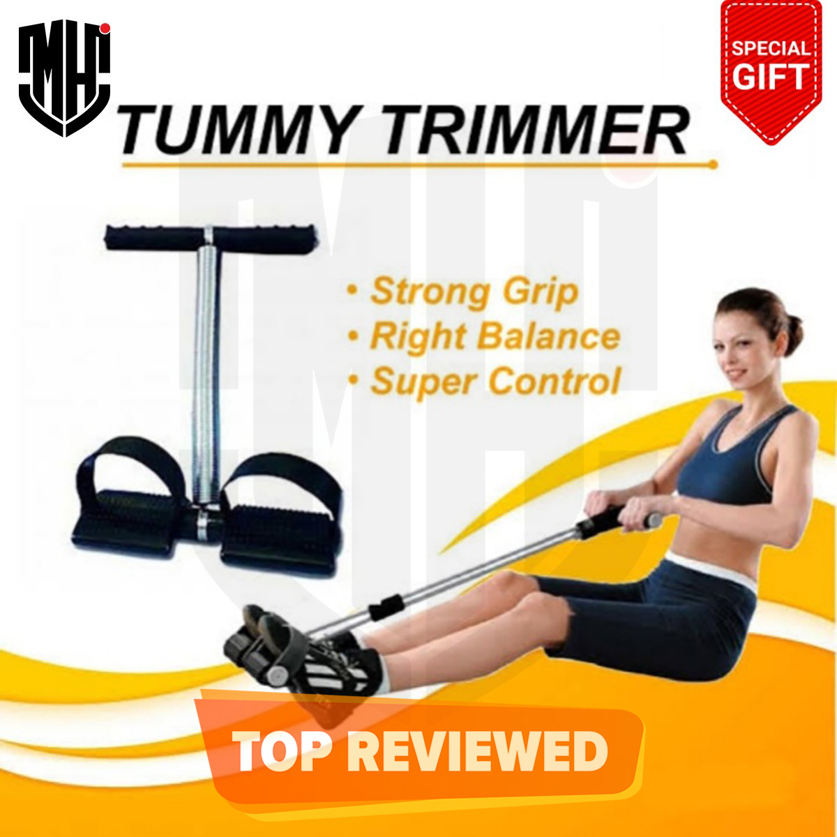 MHI Tummy Trimmer 10 Inch Single & Double Spring High Quality- Body Weight Loss Exercise Machine - Home Workout Gym for Men & Women - Tummy Trimmer For Girls - Tummy Trimmer For Women- Tumy Trimer - Tummy Trimmer For Men - Tumy Slimmer