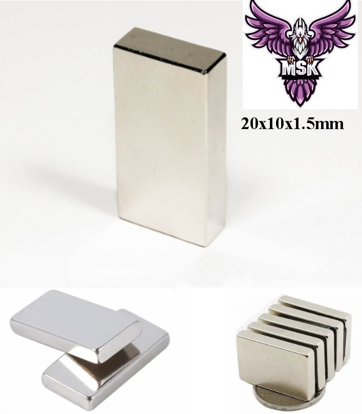 6PC's Strong Magnets Set 20x10x1.5mm N35 Ndfeb Fridge Magnets Bar Rare Earth Magnets for Fridge DIY Crafts Science Office