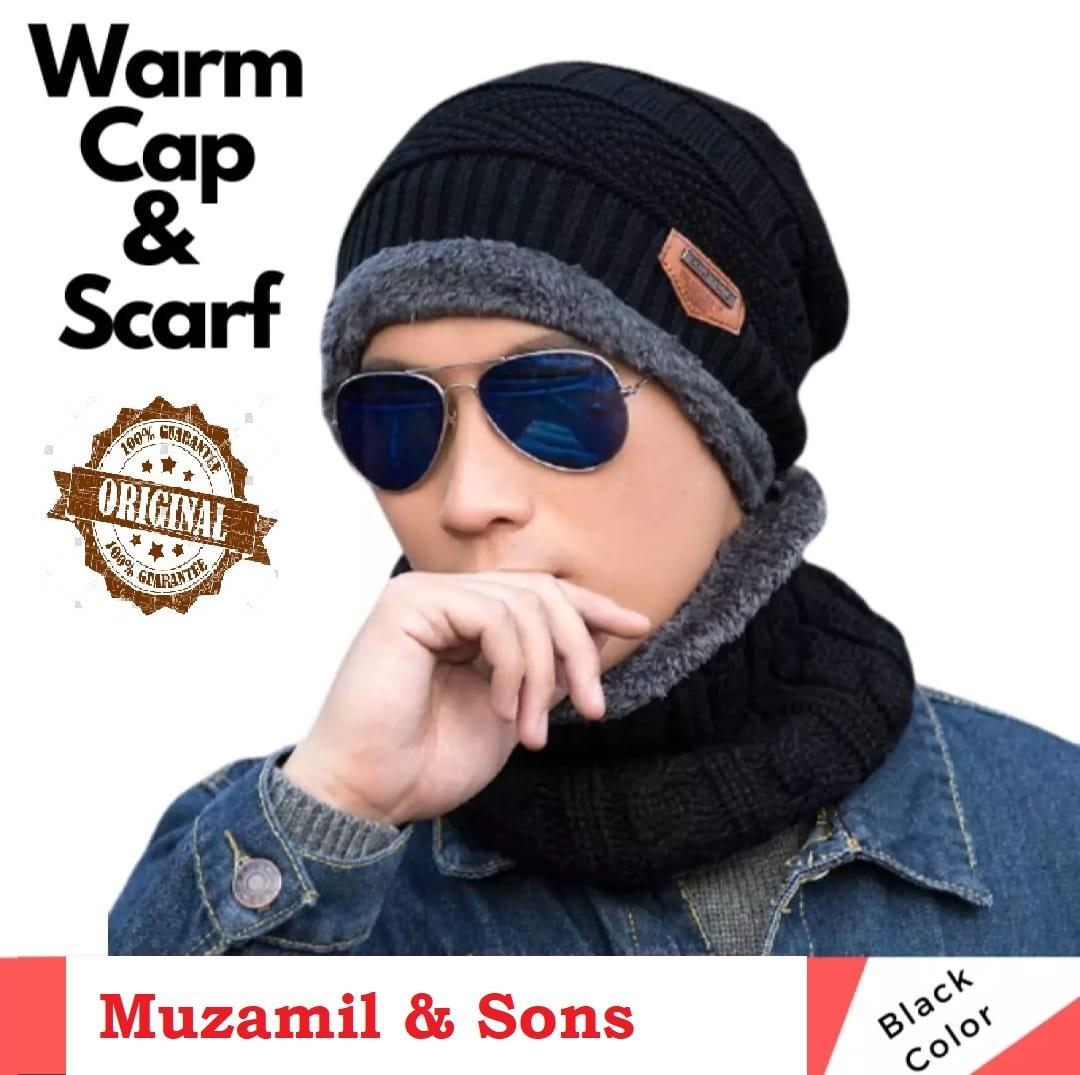 Beanie Cap 2 Piece Winter Elastic Knitting Thick Fleece Warm Woolen Sport Hat & Neck Scarf Set for Unisex Men Women Multicolor Snow Proof