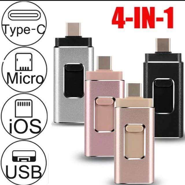 iPhone USB Flash Drive 3 in 1 64GB Black & Grey