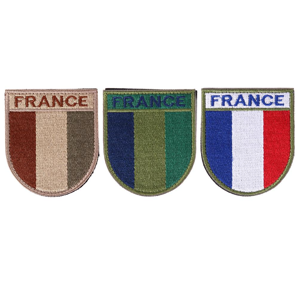 Embroidered France flag patch hook back morale patches