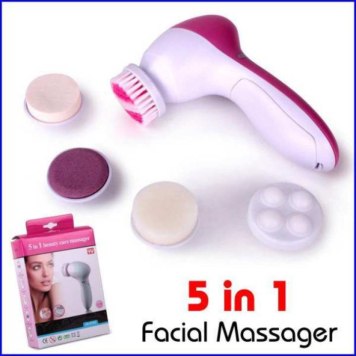 5-in-1 Beauty Care Brush Massager Scrubber Face Skin Electric Facial Cleanser (Pink, White)