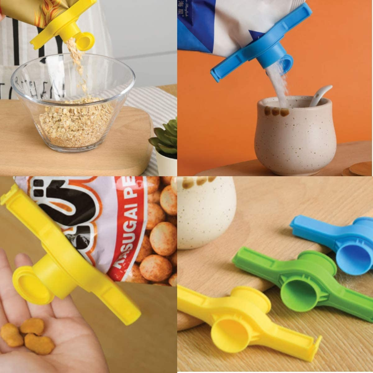 Food Sealing Clips Sugar Bag Clips - Plastic Discharge Nozzle - Folding lock - Home Food Storage Creative Reusable Kitchen Tool