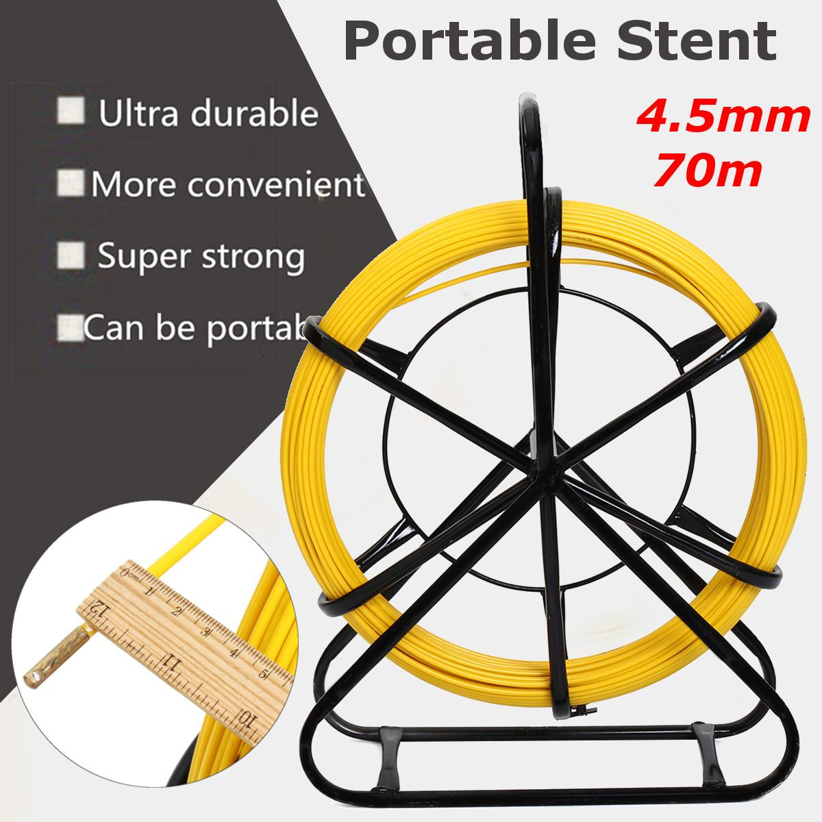 4.5mm Fish Tape Fiberglass Wire Cable 70m Length Running Rod Duct Rodder Puller