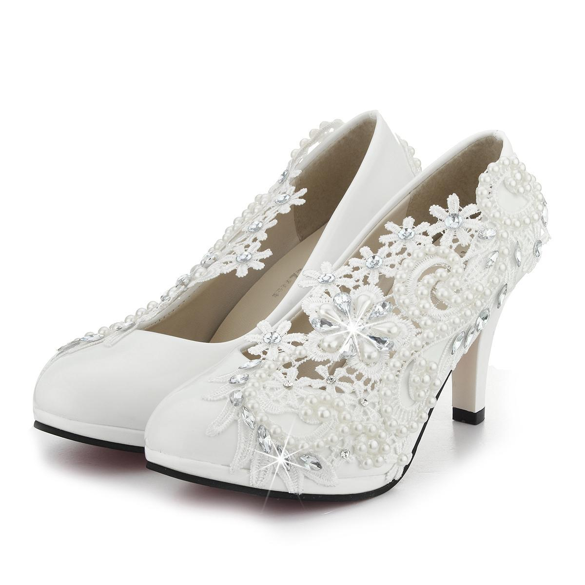 3   8cm Ladies Heel Ivory Lace Crystal Pearls Wedding Bridal Shoes Pumps  Gift 9ac088b45d58