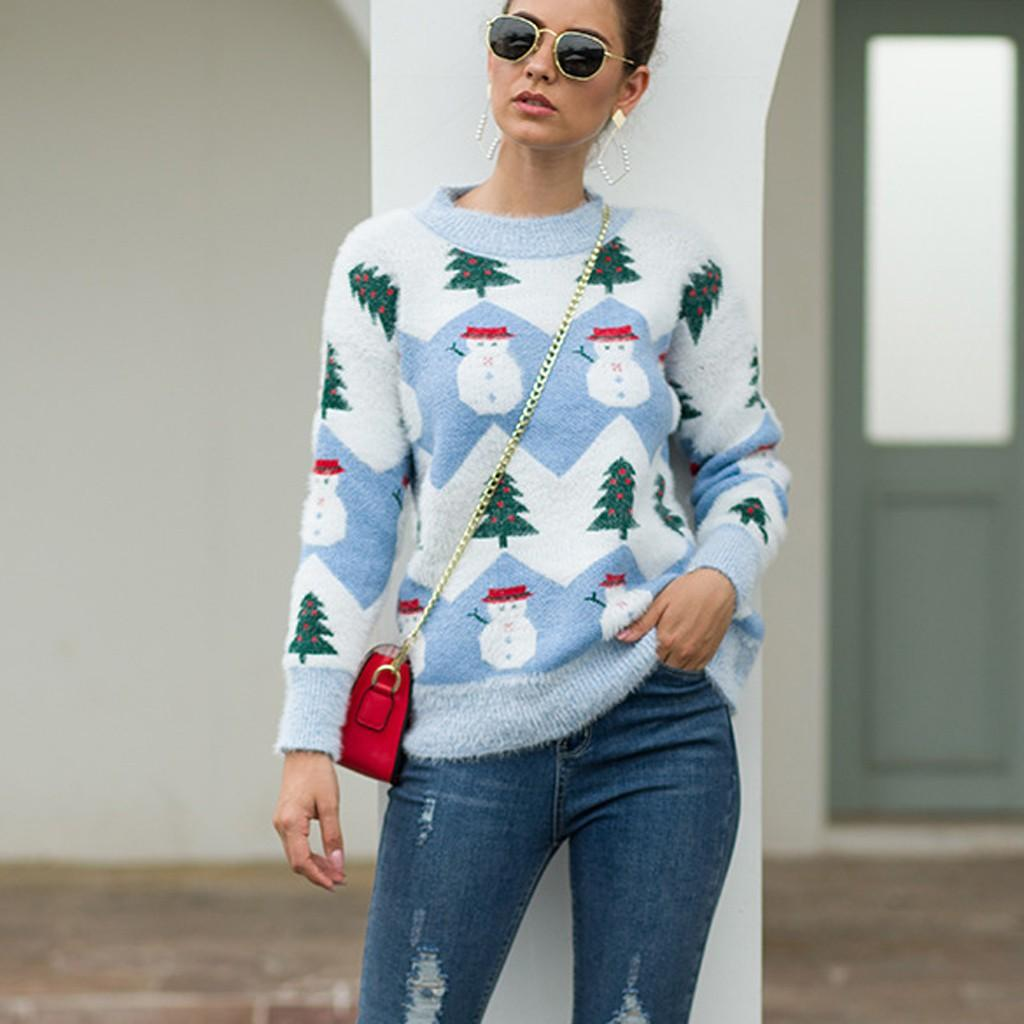 Christmas Long Sleeve O-Neck Christmas Tree knitting Women Casual Sweaters