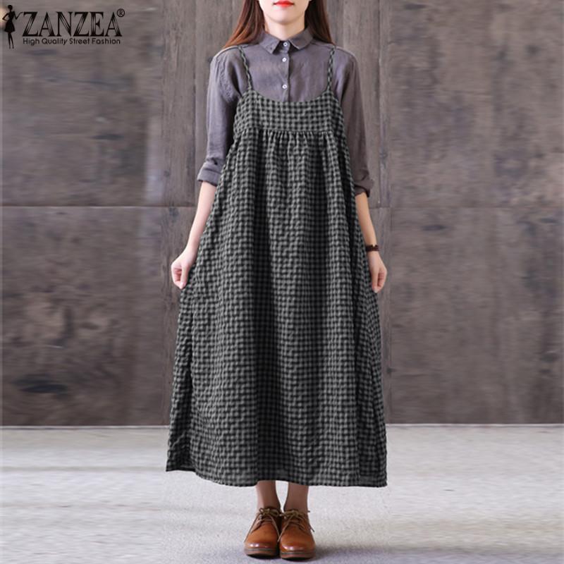37069d2baa ZANZEA Women Casual Plaid Check Sundress Kaftan Loose Maxi Cotton Dress