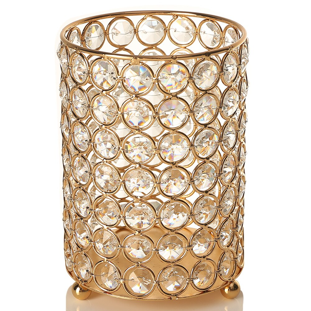 Excellent Quality -Charming Jewelry Store-Candle Jar Restaurant Christmas Luxury Empty Wedding Metal Crystal Gold Decorating Container Holder Candle Jar For Home DecS