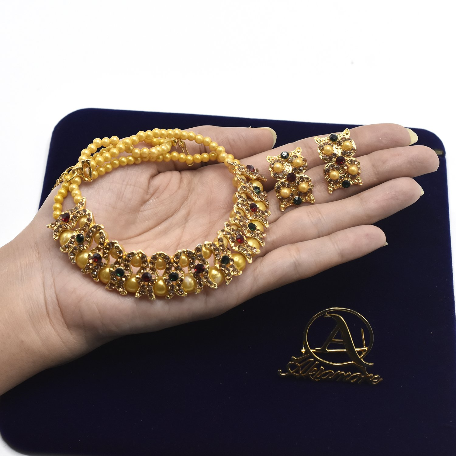 Golden Imitation Pearl Wedding Necklace Earring Sets Party Jewelry Sets for Women Elegant Party Gift Fashion Jewellery