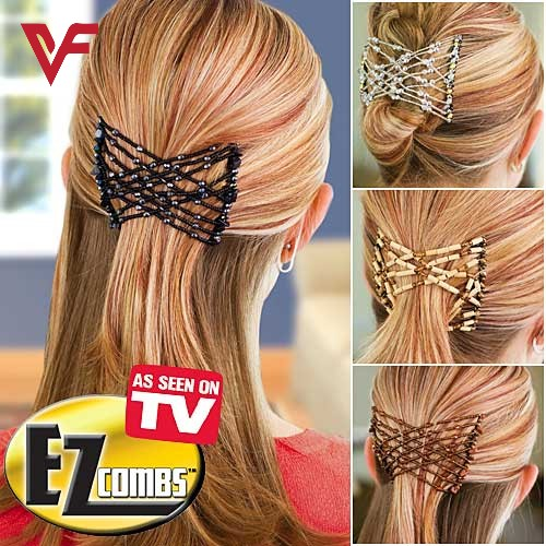 EZ Beads Hair Combs Magic Elastic Hair Double Clips for Women Girls Hair Accessory DIY Hair Styling Tool Elasticity Clip Stretchy Hair Combs Clips New Hair Style Fashion Girls Beads Hairpin