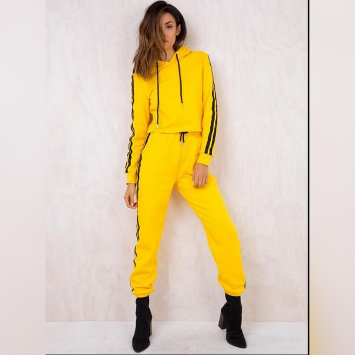 Fleece Yellow Stripe Crop Tracksuit For Women