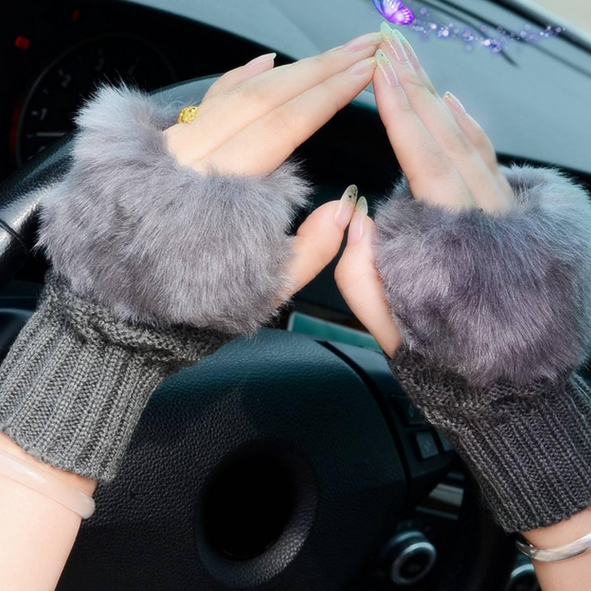 Wool Gloves Fancy Winter Women Grils wool glovs Gloves Knitting Woo wool glovs l Keep Warm Short Mitten Fingerless Lady Girl Half Finger Gloves Rabbit Lady hand Gloves KAAA759
