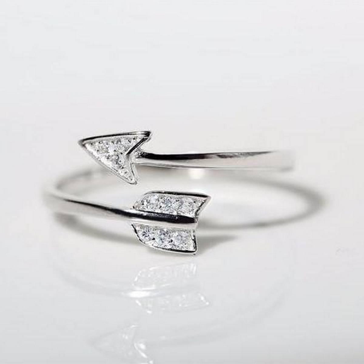Ladies Arrow Crystal Adjustable Ring Jewellery Gift Engagement Ring