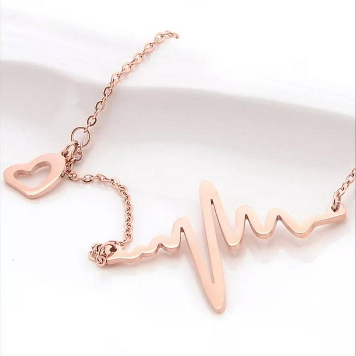 IMPORTED TRENDY NEW FASHION 22 K GOLD PLATED ECG WAVE HEART BEAT PENDANT NECKLACE FOR GIRLS