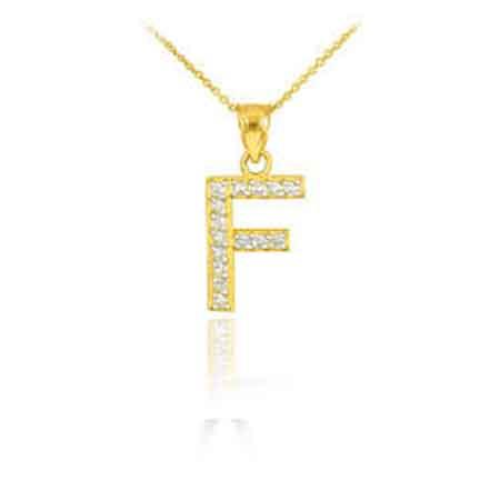Alphabet Pendants Gold Color F Letter Pendant Necklace Shinning Crystal 26 Stylish