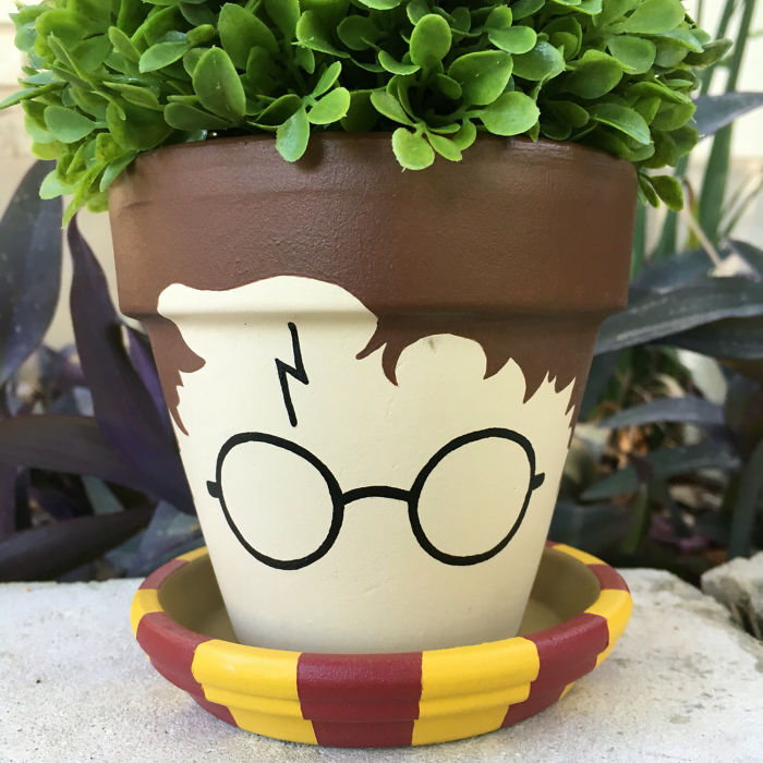 Harry Potter Themed Hand-Painted Artistic Clay Flower Pot