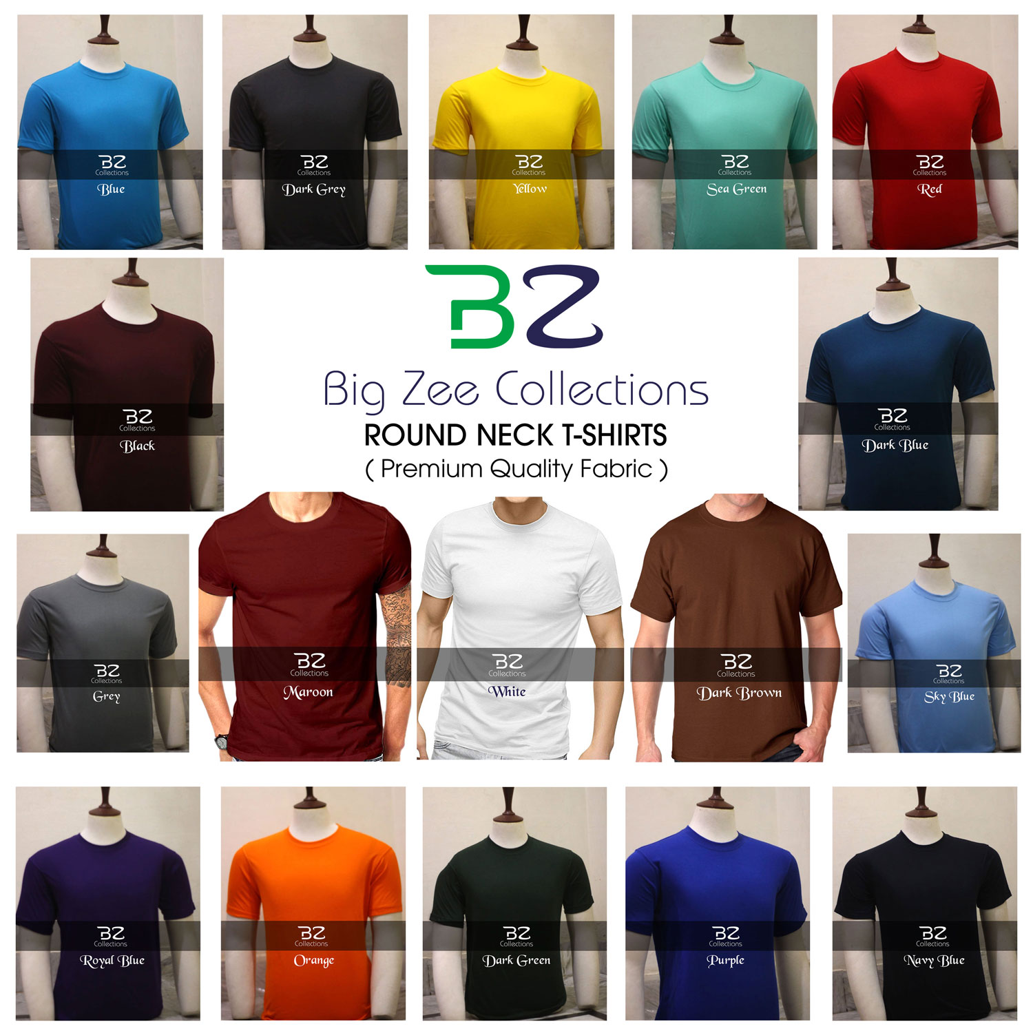 Big Zee Collections Plain Round Neck T Shirt  (Premium Quality Fabric) Half Sleeves