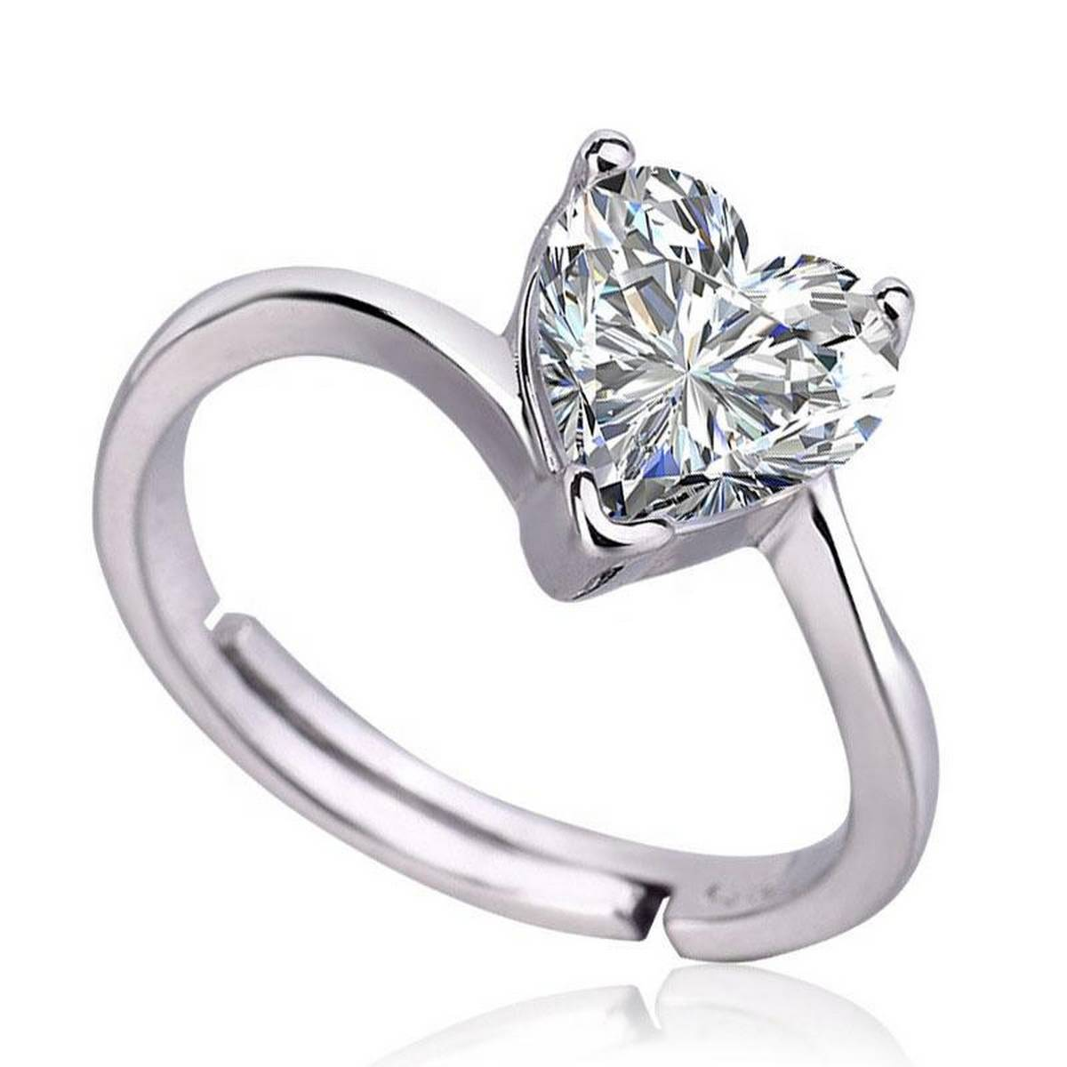 Fashion SS Wedding Engagement Collection Silver Adjustable Love Heart Shape CZ Diamond Rings for Girls & Women - NJ120