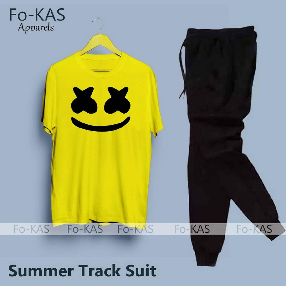 Marshmallow Printed Cotton Fabric T-Shirt & Trouser for Summer Elegant Tracksuit for _Men Trendy Wear