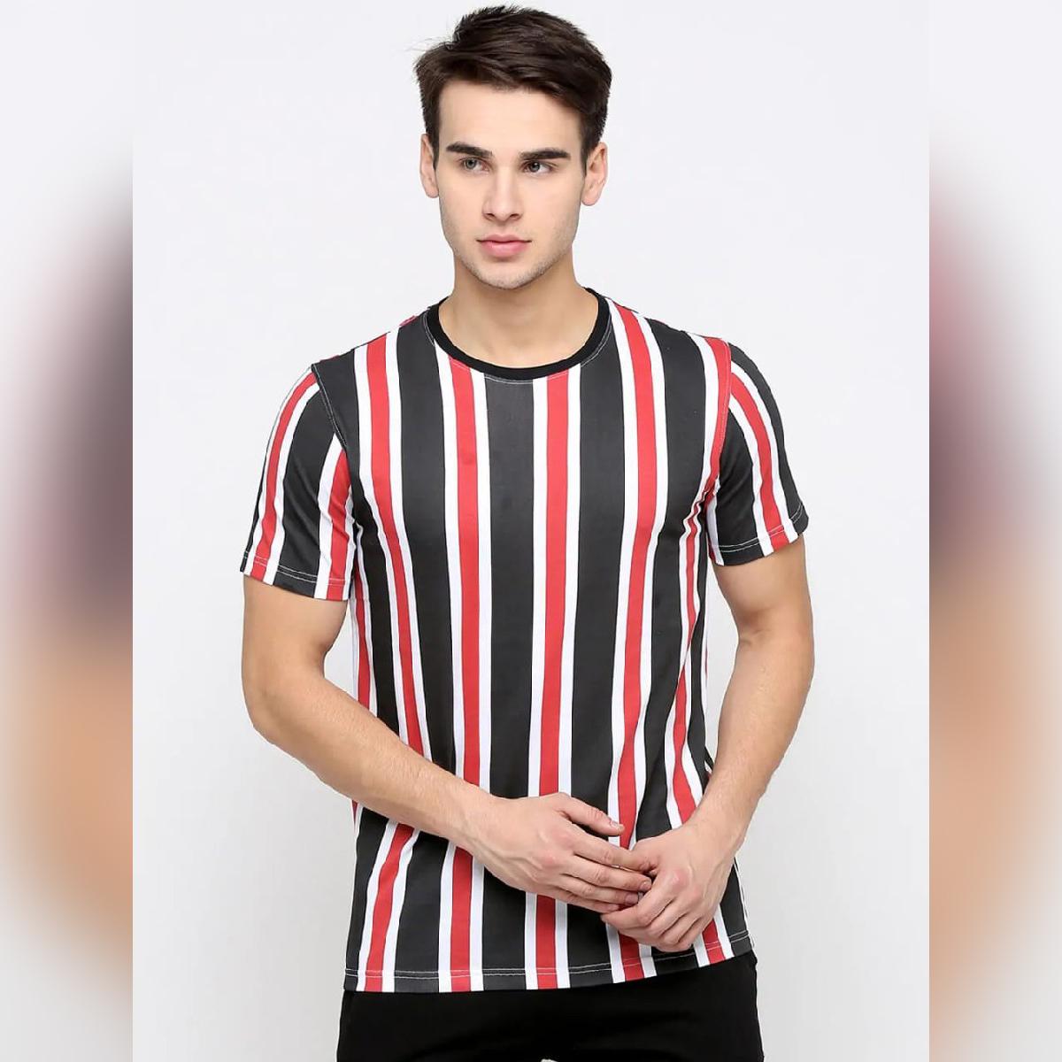 Short Sleeves Vertical Strip Printed Tshirt