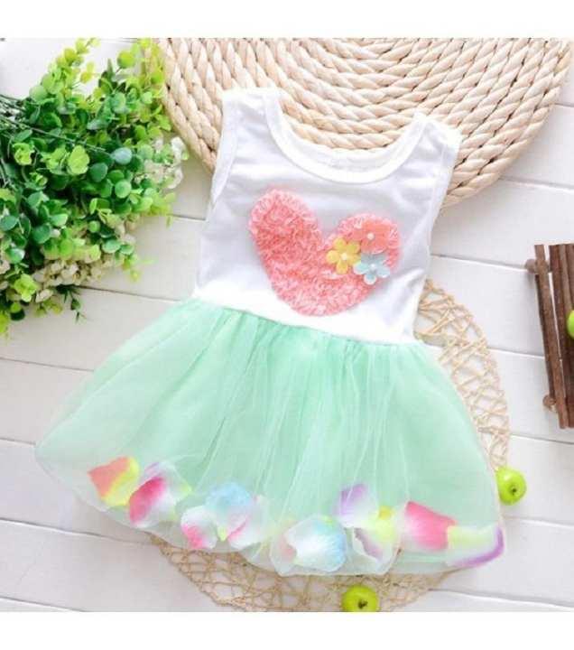 Baby Girls Summer Cotton Green Sleeveless Petals Dress