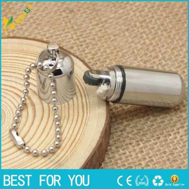 1PC Survival Waterproof Peanut Capsule Lighter Cigarette Cigar Refillable Oil Lighter Torch Key Chain