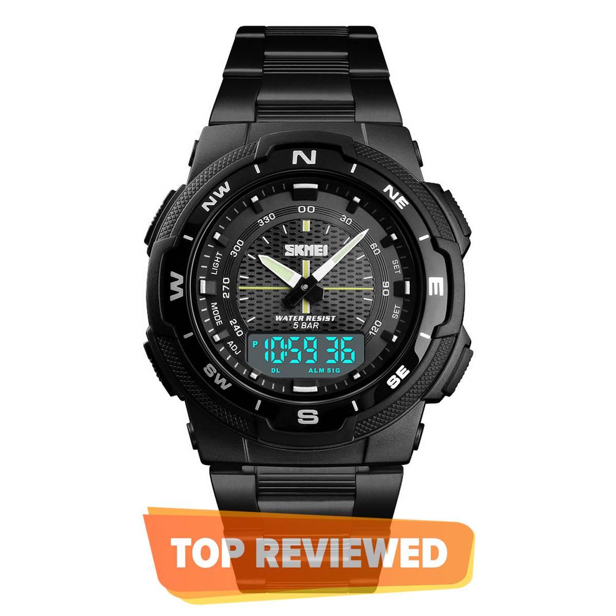 Skmei 1370 Stainless Steel Dual Display Waterproof Watch For Men