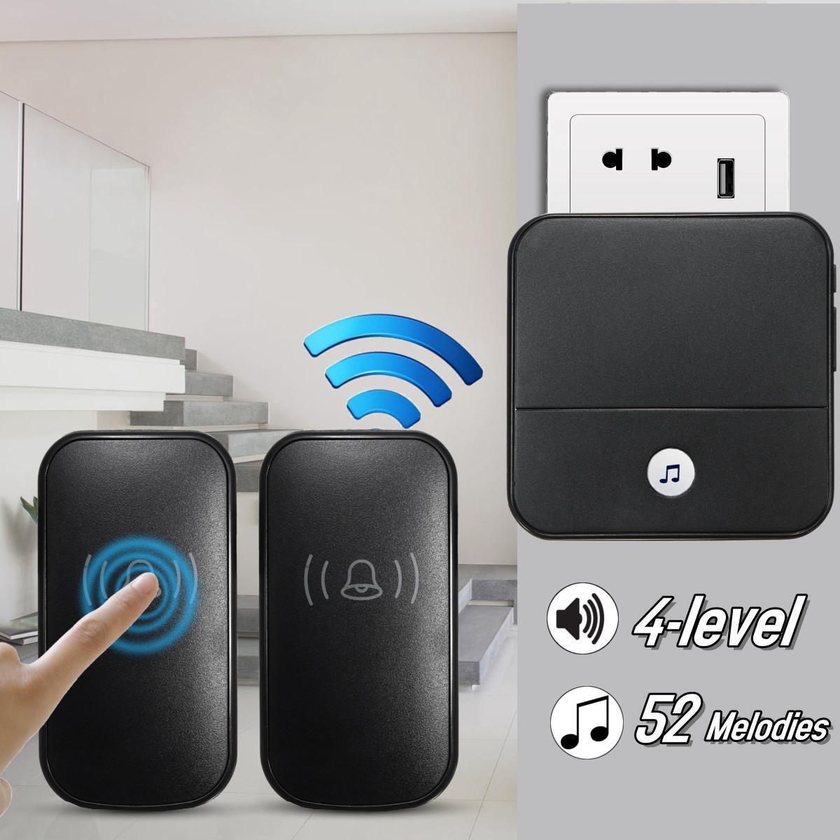 300M Waterproof LED Wireless Doorbell EU//US Plug 52 Songs Chime Door Bell SOS