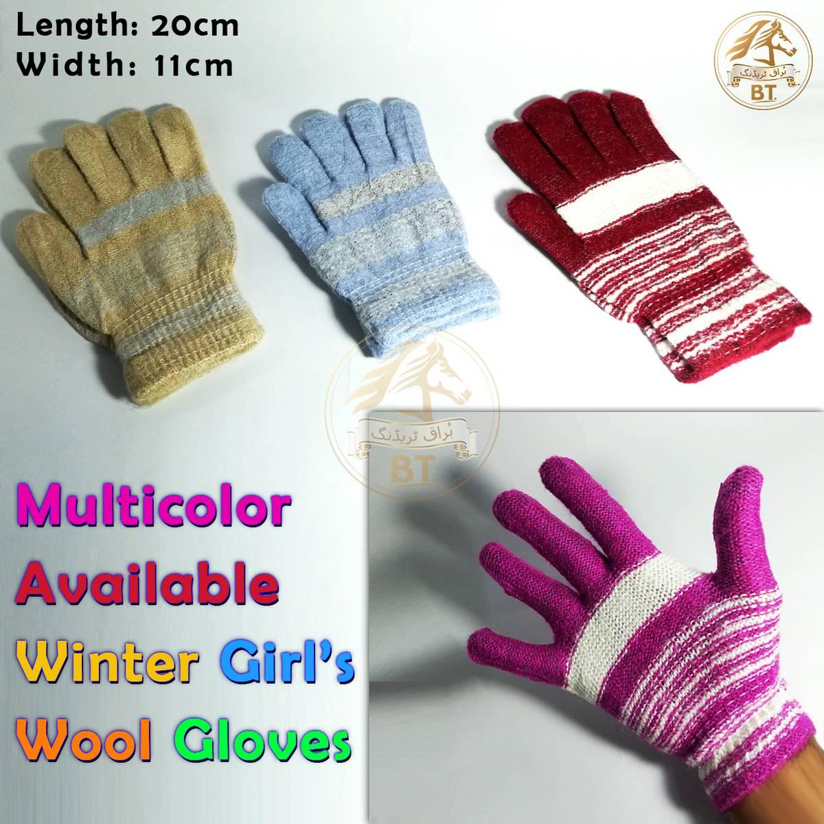 Winter Wool Soft Feel Fully Warm Gloves Hand Warmer Knitted for Girls, Women, Ladies - 20cm, 11cm