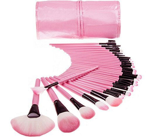 32 Pcs Professional Original Makeup Brush Cosmetic Beauty Make Up Brush Set+ Black Pouch Bag Leather Case - Wood Color
