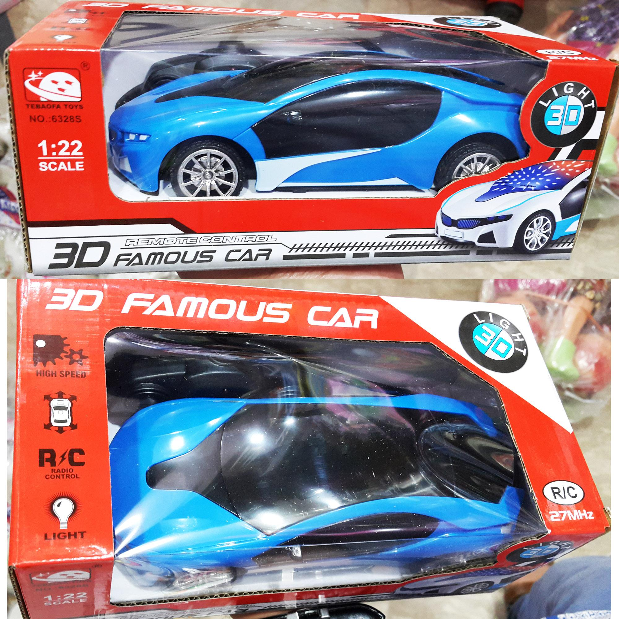Premium 3D Light Blinking Imported Remote Control Car Multi Colour - FSC