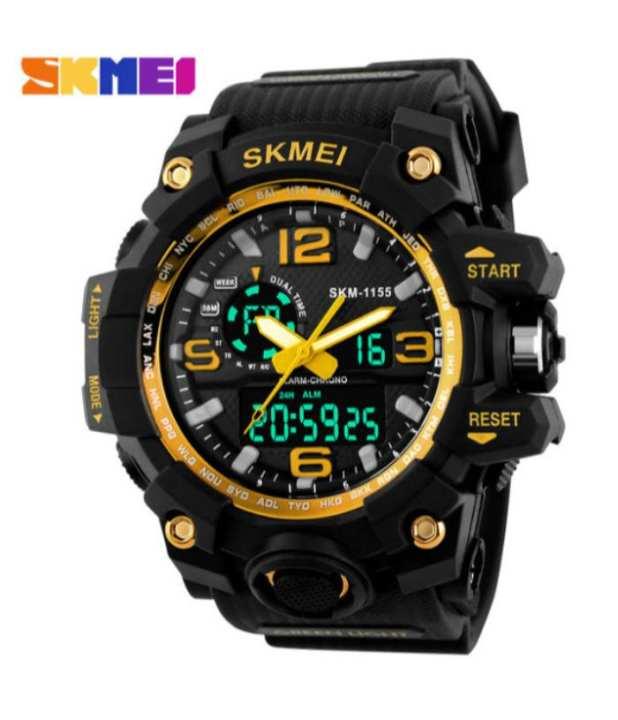 1155 - Black & Golden Resin Led Digital Quartz Watch For Men