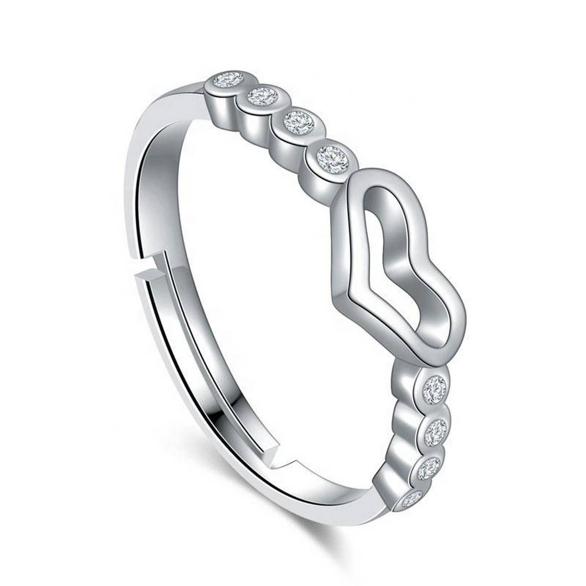 Fashion SS Wedding Collection 925 Silver Plated Adjustable Love Inlaid Heart Shape CZ Diamond Rings for Girls & Women - NJ098